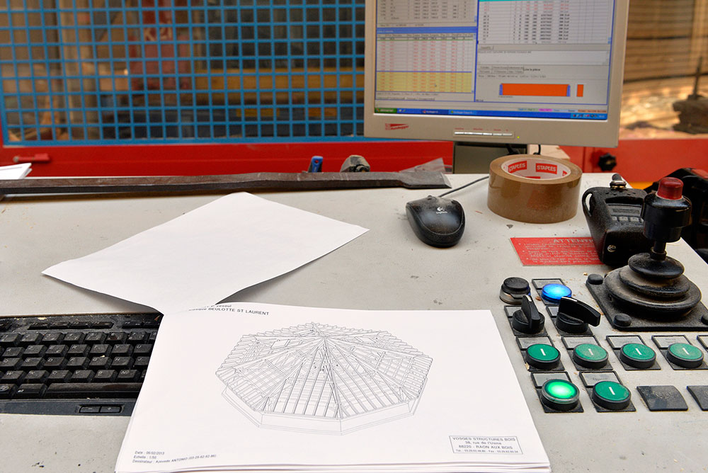 Plan effectué par le bureau d'études pour mise en fabrication